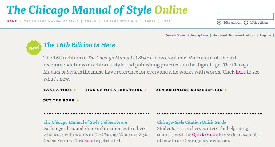 The Chicago Manual of Style, 16th Edition by